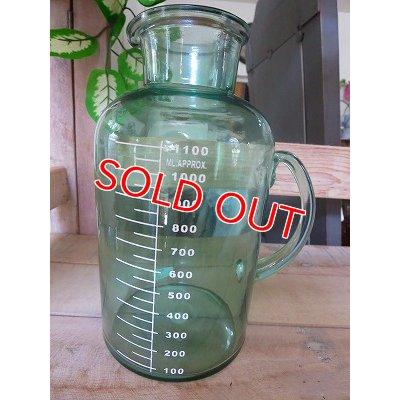 画像1: アンティークグリーン ガラスボトルM